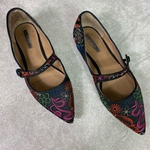 Tahari Park Floral Embroidery Mary Jane Flats